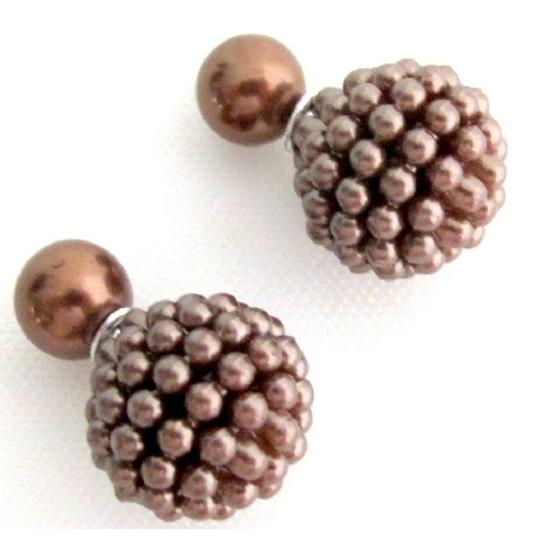 Brown Double Sided Stud In Chocolate Color Earrings