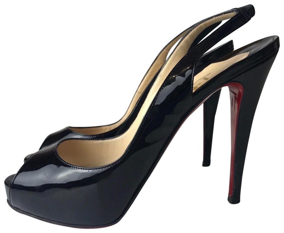 5c346adc6c6 Christian Louboutin Black No Prive Sling 120 Patent Calf Pumps Size ...