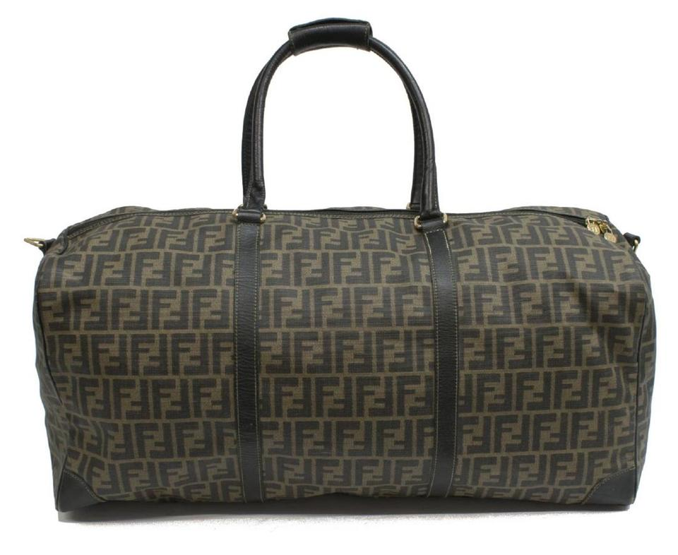 fd4c571ea923 Fendi Zucca Monogrammed Duffel Brown and Black Leather Weekend Travel Bag -  Tradesy