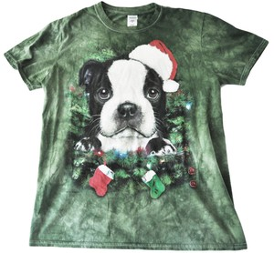 Vincent Hie Christmas Dog Pug Holidays T Shirt Green Multi-color