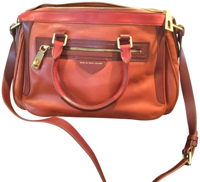 Marc by Marc Jacobs -ziplocker-lo-colorblock- Burnt Sienna Leather Satchel Marc by Marc Jacobs -ziplocker-lo-colorblock- Burnt Sienna Leather Satchel Image 1