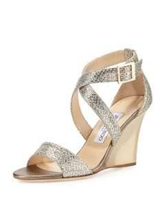Jimmy Choo Made In Italy Luxury Designer Holiday Parties Sparkle Metallic Champagne Wedges