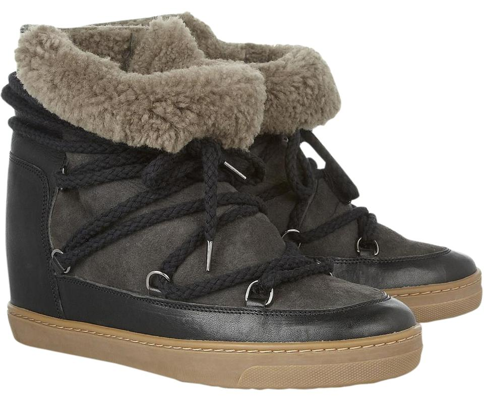 isabel marant black nowles ankle shearling leather boots. Black Bedroom Furniture Sets. Home Design Ideas