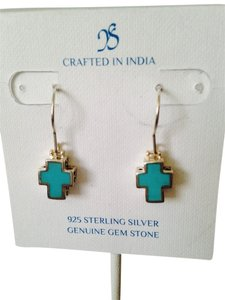 JS Collections Turquoise Gemstone In Sterling Silver Dangle Earrings