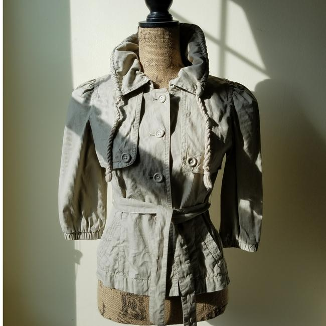 Item - Khaki Cropped Trench Inspired Button Down 70026 Jacket Size Petite 2 (XS)