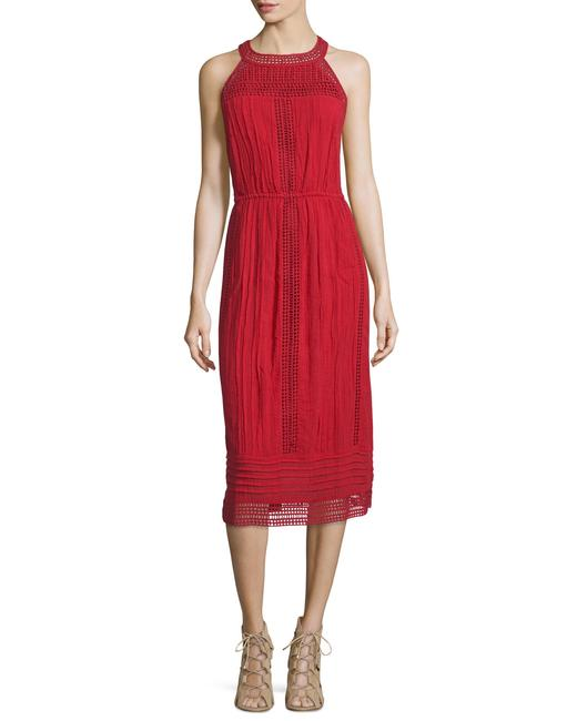 Item - Red Brick Dance Halter Eyelet Mid-length Casual Maxi Dress Size 8 (M)