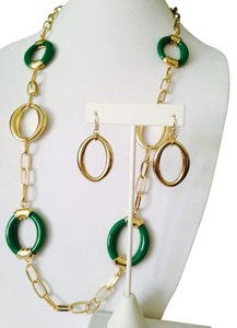 2-Piece Set Green & Gold-Tone Oval Link Necklace & Earrings
