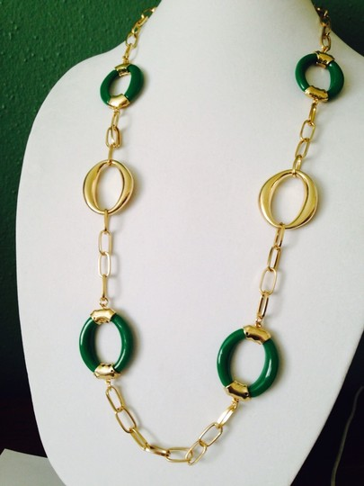 Other 2-Piece Set Green & Gold-Tone Oval Link Necklace & Earrings