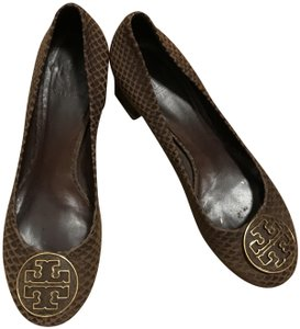 Tory Burch Leather Brown & Gold Pumps