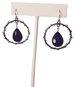Embellished by Leecia NWOT Green Onyx Polished Teardrop In Branch Design Circle Earrings