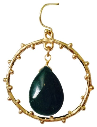 Other Embellished by Leecia NWOT Green Onyx Polished Teardrop In Branch Design Circle Earrings