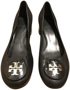 Tory Burch Leather Black and Silver Pumps