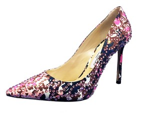Jimmy Choo Jeweled Made In Italy Crystal Embellished Luxury Designer Pointed Toe Floral ( Pink. Black, & White) Pumps