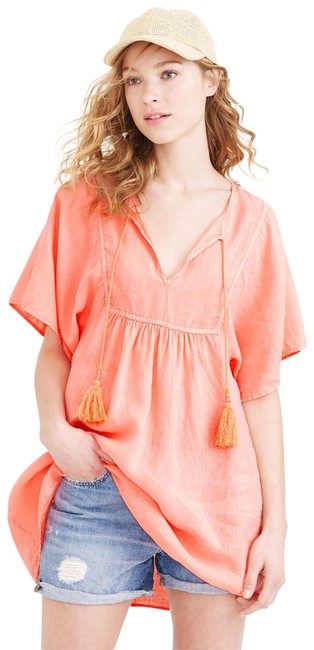 Item - Neon Persimmon Linen Tassel Beach Tunic Cover-up/Sarong Size 12 (L)