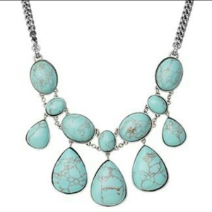 Fossil Fossil Reconstituted Turquoise Statement Necklace, NEW