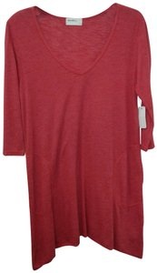Allen Allen V-neck Pocketd 3/4 Sleeves Cotton Tunic