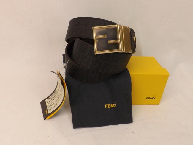 Item - Black/Tobacco/Gold College Leather Zucca Golden Ff Logo Buckle Belt F Men's Jewelry/Accessory