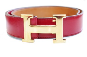 Herms HERMES CONSTANCE KIT BELT GOLD BUCKLE CIRCLE E STAMP RED LEATHER