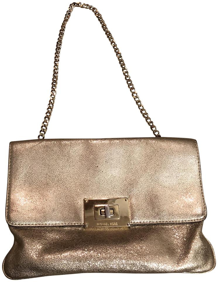 3625e3a057d5 Michael Kors Sparkly Evening Gold Leather Clutch - Tradesy