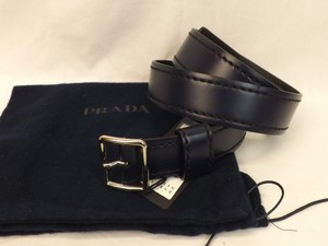 Prada Blue Navy Stitched Leather Black Small Silver Buckle Belt 85/34 Men's Jewelry/Accessory