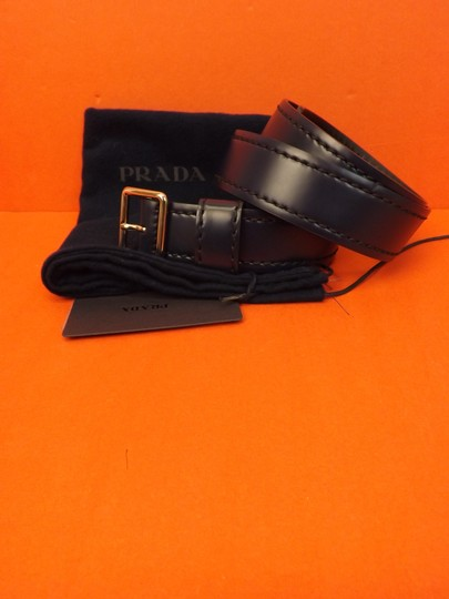 Prada Blue Navy Stitched Leather Black Small Silver Buckle Belt 100/40 Men's Jewelry/Accessory Image 11