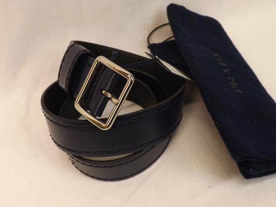 Prada Blue Navy Stitched Leather Black Small Silver Buckle Belt 100/40 Men's Jewelry/Accessory Image 2