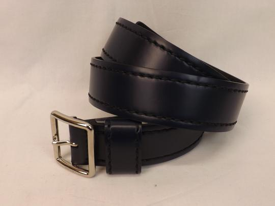 Prada Blue Navy Stitched Leather Black Small Silver Buckle Belt 100/40 Men's Jewelry/Accessory Image 4