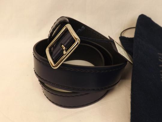 Prada Blue Navy Stitched Leather Black Small Silver Buckle Belt 100/40 Men's Jewelry/Accessory Image 6