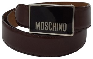 Moschino Brown leather Moschino gold-tone logo buckle belt