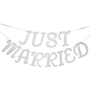 "David Yurman Silver Sparkle Tutera Glitter ""Just Married"" Hanging Banner Ceremony Decoration"