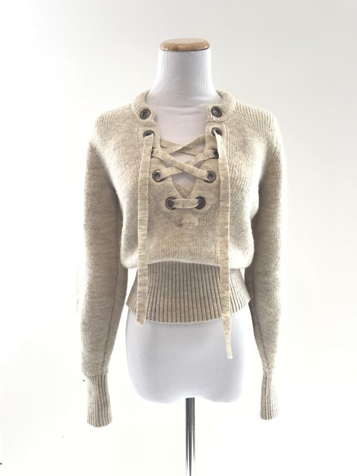 Isabel Marant Charley Lace-up Wool Blend Light Beige Sweater - Tradesy ce59a5b01