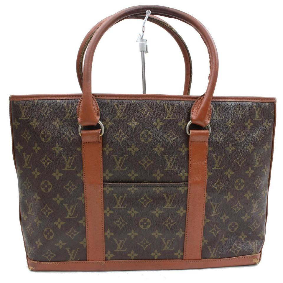 louis vuitton monogram sac weekend pm 370362 brown tote bag on tradesy. Black Bedroom Furniture Sets. Home Design Ideas