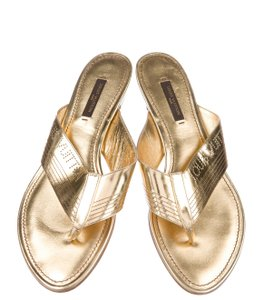 Louis Vuitton Hardware Patent Leather Vernis Perforated Lv Gold Sandals