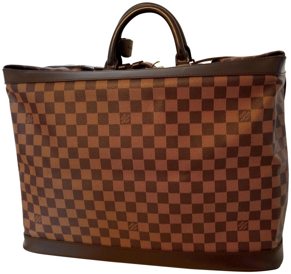 Louis Vuitton Cruiser Damier Ebene 45 Foldable Luggage Boston Grimaud Brown  Canvas Leather Weekend Travel Bag d9712a2672d14