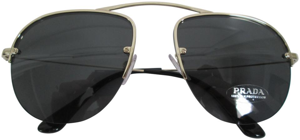93ed7b7c4490f Prada Prada SPR 580 Light Gold Black Aviator 55MM Sunglasses Image 0 ...