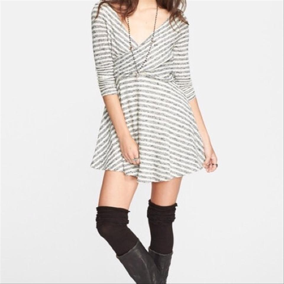 fb4851c1c8a Free People Gray and White Striped Short Casual Dress Size 10 (M ...