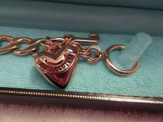 Juicy Couture Puff Heart Yellow Gold Tone Charm Bracelet Chunky