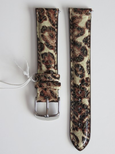 Michele Nwt Michele Brown Leopard Print Patent Leather 18MM Watch Band