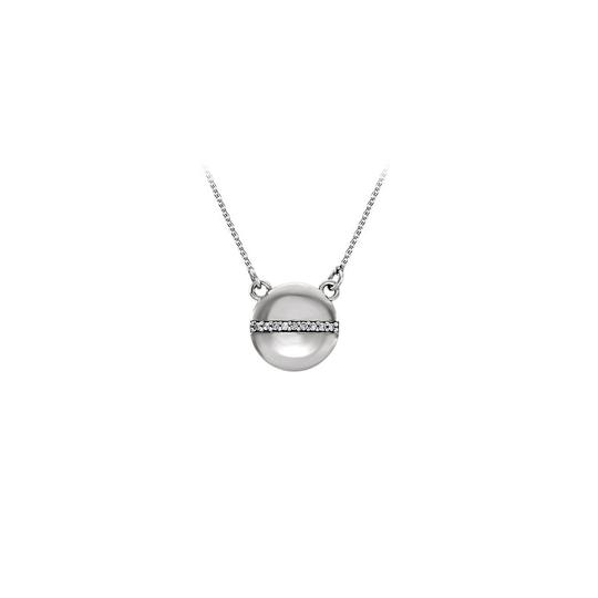Preload https://item4.tradesy.com/images/white-silver-circle-with-row-of-czs-in-the-center-necklace-22470378-0-0.jpg?width=440&height=440