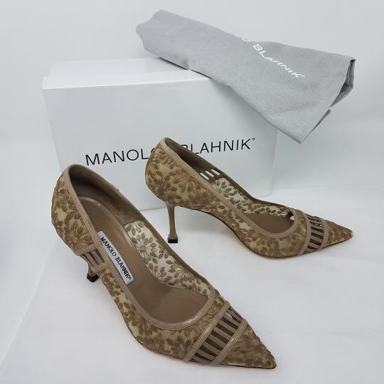 Manolo Blahnik Pointed Toe Embellished Mesh Bb Embroidered Beige Pumps