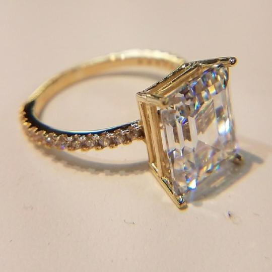 Yellow Gold 14k Solid Real Emerald Cut Size 5 Engagement Ring