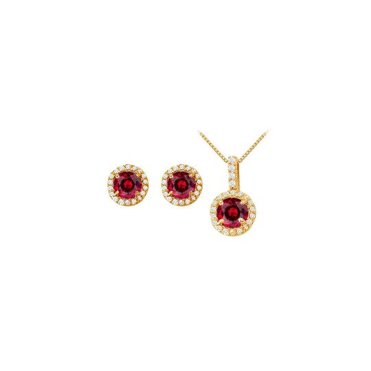 Preload https://img-static.tradesy.com/item/22470460/yellow-white-red-created-ruby-with-cz-halo-earrings-and-pendant-necklace-0-0-540-540.jpg