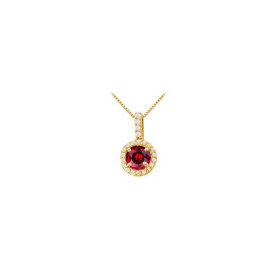 Veronica V. Created Ruby with CZ Halo Earrings and Pendant
