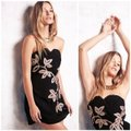 Free People Black and Gold Limited Edition Embroidery Strapless Mini Short Night Out Dress Size 6 (S) Free People Black and Gold Limited Edition Embroidery Strapless Mini Short Night Out Dress Size 6 (S) Image 3