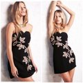 Free People Black and Gold Limited Edition Embroidery Strapless Mini Short Night Out Dress Size 6 (S) Free People Black and Gold Limited Edition Embroidery Strapless Mini Short Night Out Dress Size 6 (S) Image 5