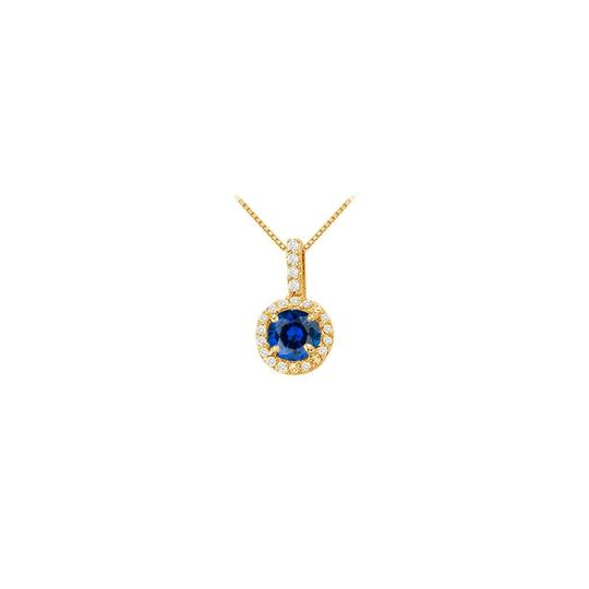 Veronica V. Created Sapphire with CZ Halo Earrings and Pendant