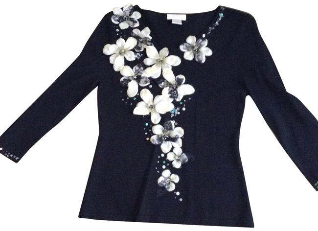 Preload https://img-static.tradesy.com/item/22470524/black-decorated-with-flower-petals-and-beads-sweaterpullover-size-4-s-0-2-650-650.jpg