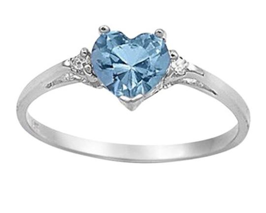 9.2.5 Gorgeous aquamarine and white sapphire heart ring size 6