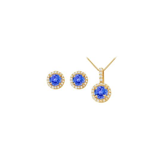 Preload https://img-static.tradesy.com/item/22470542/white-yellow-blue-created-tanzanite-with-cz-halo-earrings-and-pendant-necklace-0-0-540-540.jpg