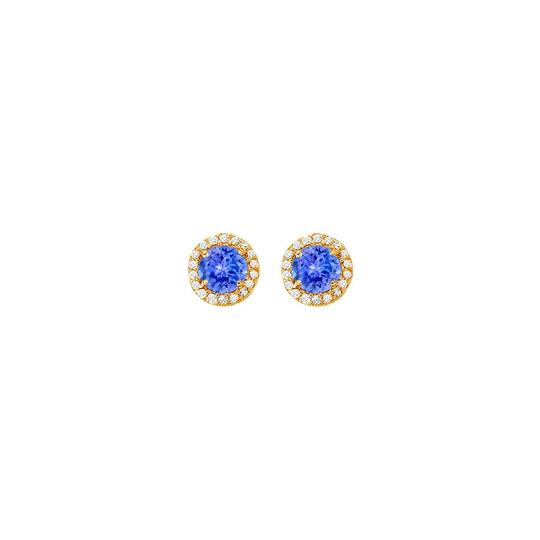 Veronica V. Created Tanzanite with CZ Halo Earrings and Pendant